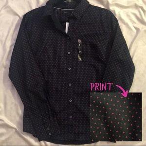 *NEW* Navy & Pink Geo Print Tailored Shirt